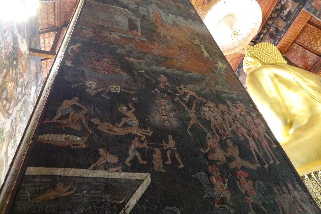 Image of a buddhist painting showing bodies in hell